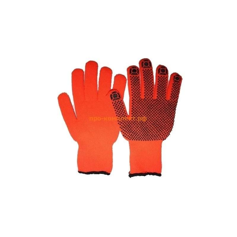 Перчатки рабочие УТЕПЛЕННЫЕ из акрила 7класс вязки с НАЧЕСОМ с ПВХ ТОЧКА ЗИМА  60-70 гр
